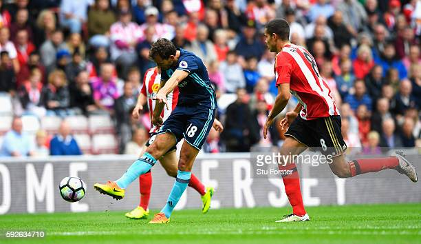 Christian Stuani of Middlesbrough scores the opening goal during the Premier League match between Sunderland and Middlesbrough at Stadium of Light on...