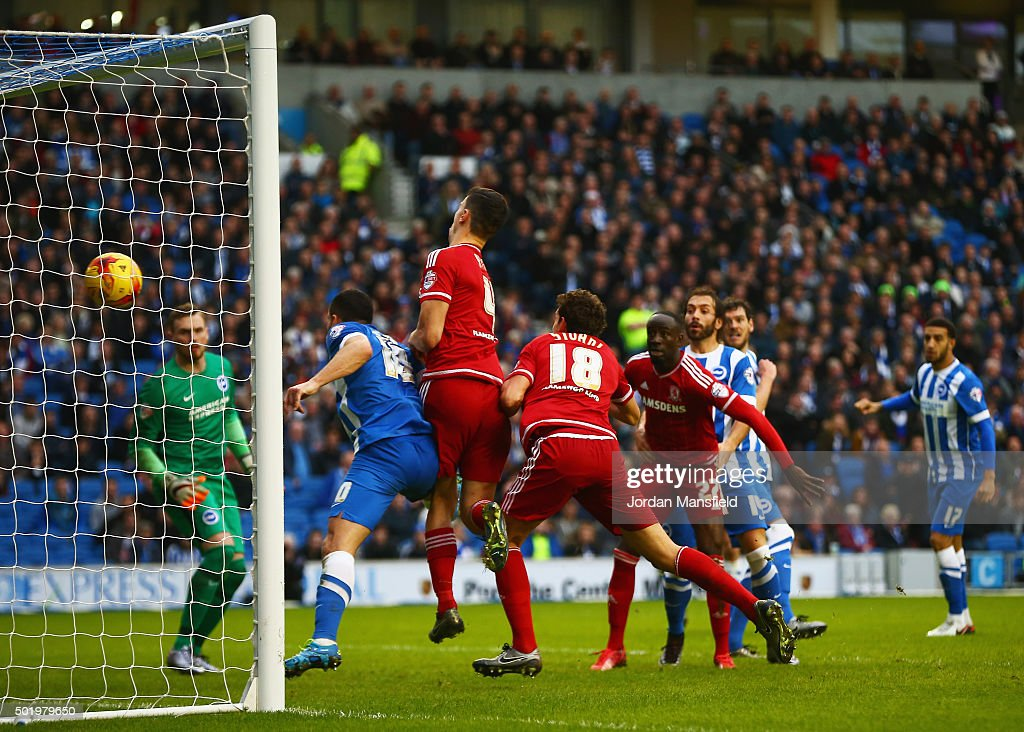 Christian Stuani of Middlesbrough scores their third goal during the Sky Bet Championship match between Brighton and Hove Albion and Middlesbrough at...