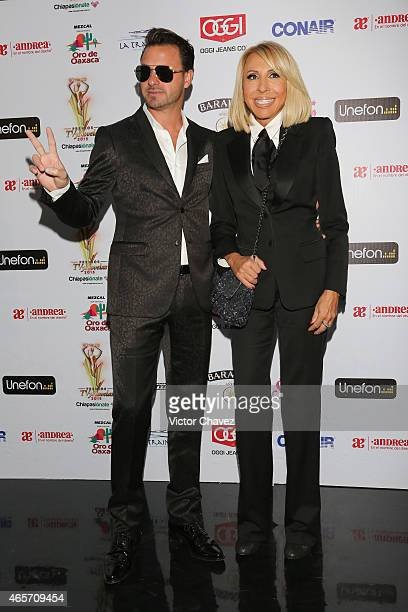 Christian Suarez and Laura Bozzo arrive at Premios TV y Novelas 2015 at Televisa San Angel on March 9 2015 in Mexico City Mexico