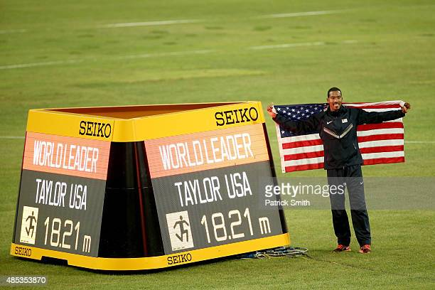 Christian Taylor of the United States celebrates after winning gold in the Men's Triple Jump final and becoming World Leader for Men's Triple Jump...