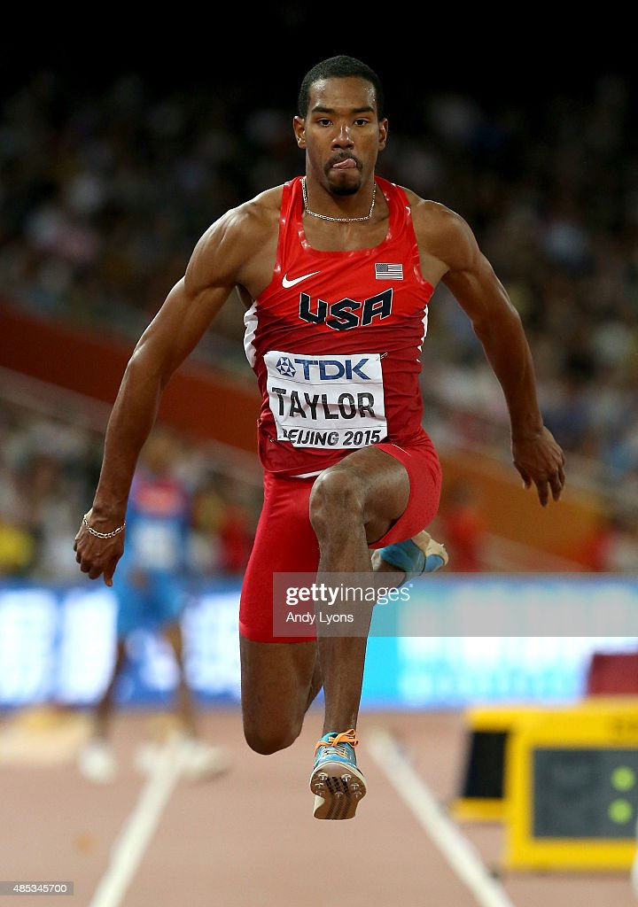 Christian Taylor of the United States competes in the Men's Triple Jump final during day six of the 15th IAAF World Athletics Championships Beijing...