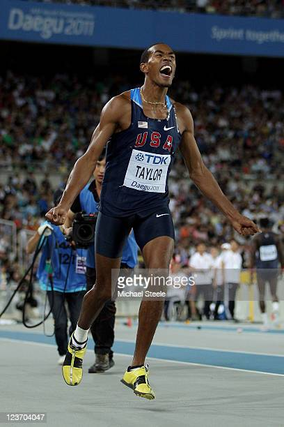 Christian Taylor of the USA celebrates victory in the men's triple jump final during day nine of 13th IAAF World Athletics Championships at Daegu...