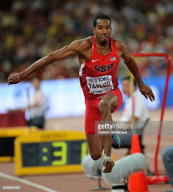 Christian Taylor of the USA gold medal in teh triple jump with an incredible 1821 just 8 cm off British jumper Jonathan Edwards world record of 1829