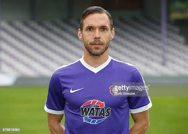 Christian Tiffert of Erzgebirge Aue poses during the FC Erzgebirge Aue Team Presentation at Sparkassenerzgebirgsstadion on July 17 2016 in Aue Germany