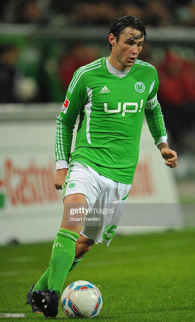 Christian Traesch of Wolfsburg in action during the Bundesliga match between VfL Wolfsburg and 1. FC Koeln at Volkswagen Arena on January 21, 2012 in Wolfsburg, Germany.