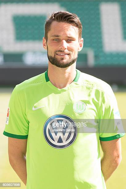Christian Traesch poses during the official team presentation of VfL Wolfsburg at Volkswagen Arena on September 14 2016 in Wolfsburg Germany