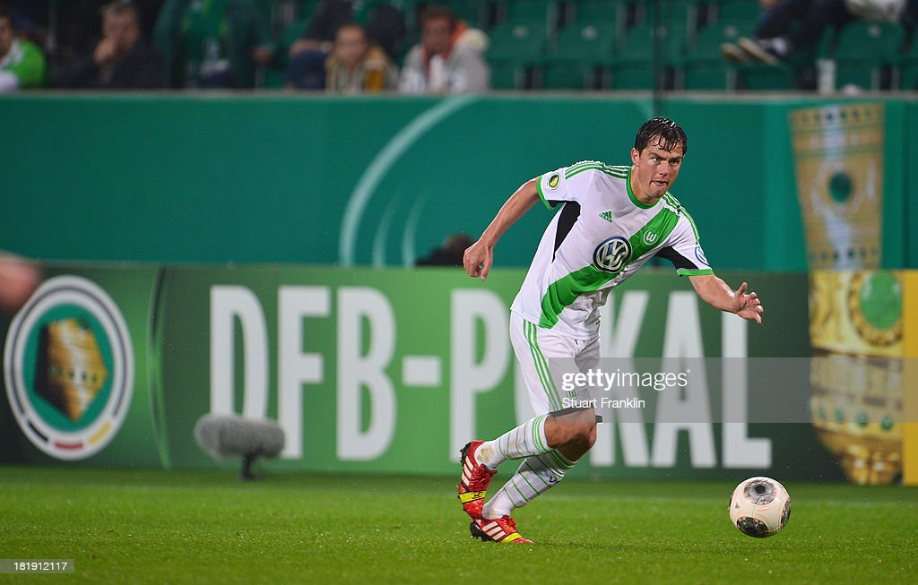 Christian Träsch of Wolfsburg in action during the second round DFB cup match between VfL Wolfsburg and Vfr Aalen at Volkswagen Arena on September 24, 2013 in Wolfsburg, Germany.
