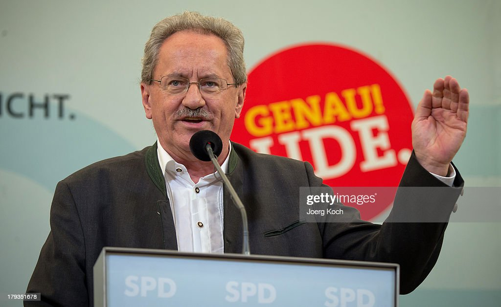 Christian Ude (SPD), social democrats candidate for the bavarian election, speaks to supporters at the annual Gillamoos beer tent day of politics on September 2, 2013 in Abensberg, Germany. Bavaria is scheduled to hold state elections on September 15, one week ahead of German federal elections scheduled for September 22.