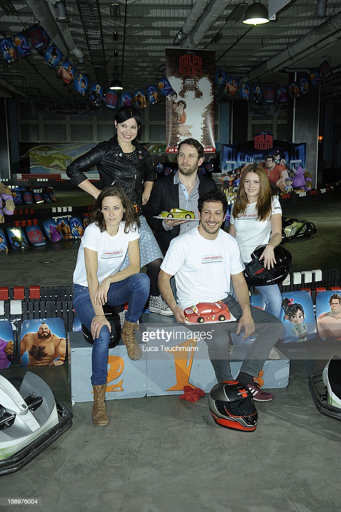 Christian Ulmen; Anna Fischer; Anja Knauer; Fahri Yardim and Jennifer Ulrich attend the photocall 'Wreckin Ralph' on November 26, 2012 in Berlin, Germany.