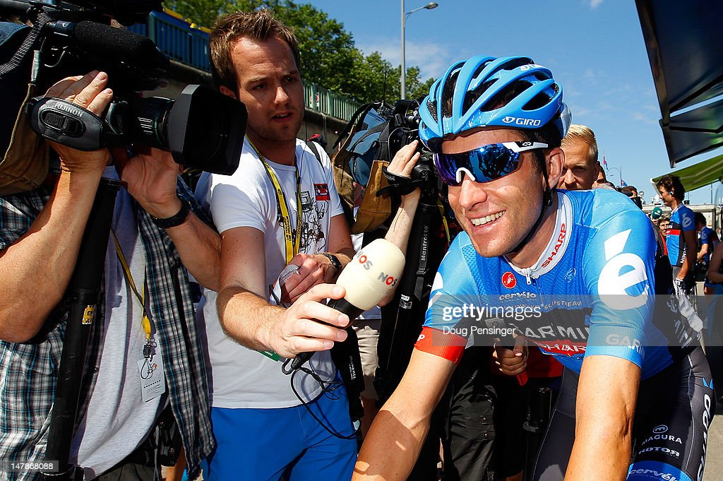 <a gi-track='captionPersonalityLinkClicked' href=/galleries/search?phrase=Christian+Vande+Velde&family=editorial&specificpeople=2841213 ng-click='$event.stopPropagation()'>Christian Vande Velde</a> of the USA riding for Garmin-Sharp is surrounded by the media as he prepares for the start of stage five of the 2012 Tour de France from Rouen to Saint-Quentin on July 5, 2012 in Rouen, France. It is reported that Vande Velde and four others have agreed to give evidence to the US Anti Doping Agency in the latest investigation of Lance Armstrong.