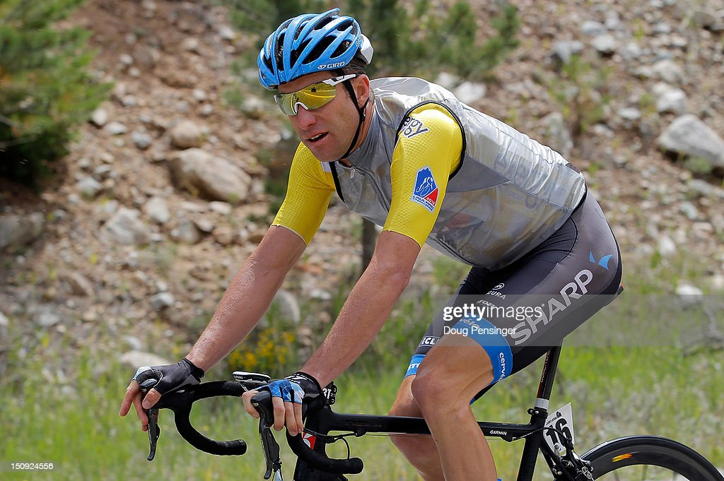 Christian Vande Velde riding for Garmin-Sharp in the overall race leader's yellow jersey rides in the peloton during stage four of the USA Pro Challenge from Aspen to Beaver Creek on August 23, 2012 in Twin Lakes, Colorado.
