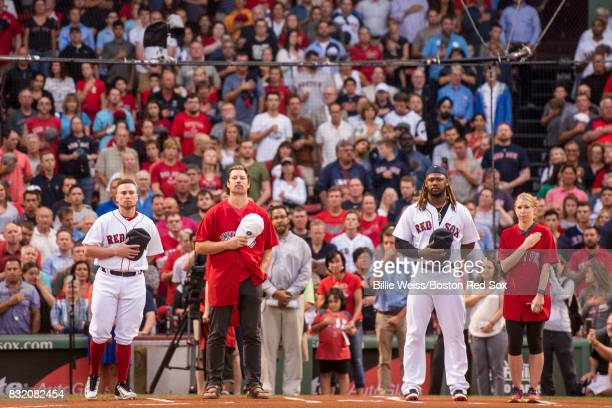 Christian Vazquez and Hanley Ramirez of the Boston Red Sox are introduced with Jimmy Fund patients during a Jimmy Fund RadioTelethon pregame ceremony...
