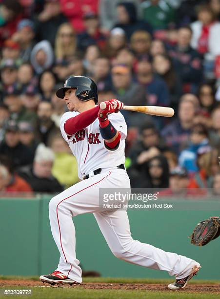 Christian Vazquez of the Boston Red Sox bats against the Toronto Blue Jays on April 16 2016 at Fenway Park in Boston Massachusetts