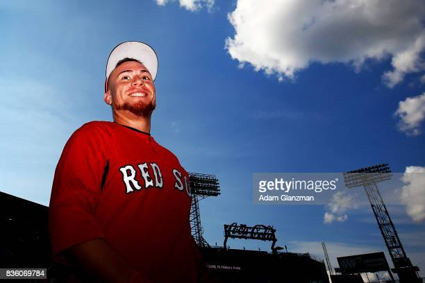 Christian Vazquez of the Boston Red Sox enters the field before a game against the New York Yankees at Fenway Park on August 19 2017 in Boston...