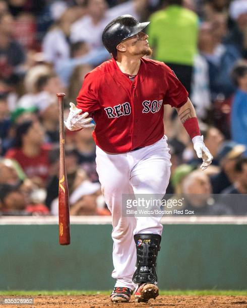 Christian Vazquez of the Boston Red Sox hits a solo home run during the fifth inning of a game against the New York Yankees on August 18 2017 at...