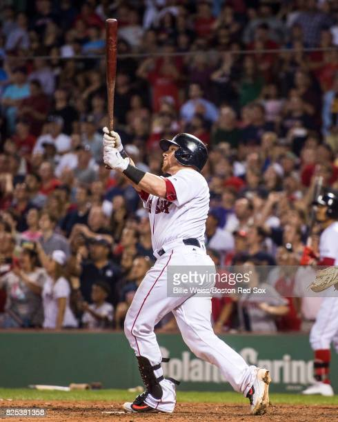 Christian Vazquez of the Boston Red Sox hits a walkoff three run home run during the ninth inning of a game against the Cleveland Indians on August 1...