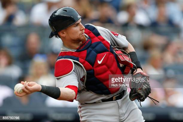 Christian Vazquez of the Boston Red Sox in action against the New York Yankees during a game at Yankee Stadium on August 12 2017 in the Bronx borough...