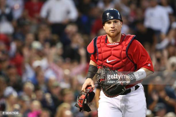 Christian Vazquez of the Boston Red Sox looks on during a game against the New York Yankees at Fenway Park on July 14 2017 in Boston Massachusetts
