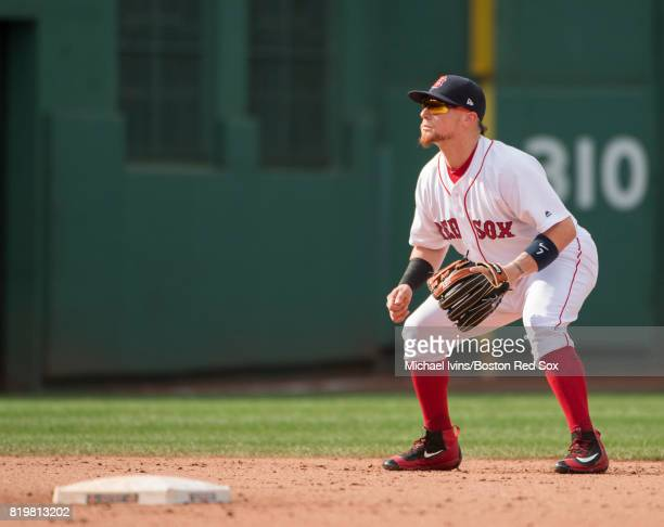 Christian Vazquez of the Boston Red Sox plays third base on a shift against the Toronto Blue Jays in the ninth inning at Fenway Park on July 20 2017...
