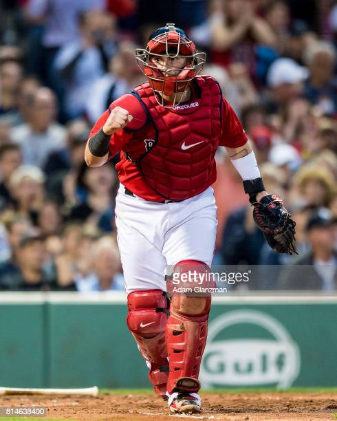 Christian Vazquez of the Boston Red Sox reacts after completing a double play during the third inning of a game against the New York Yankees on July...