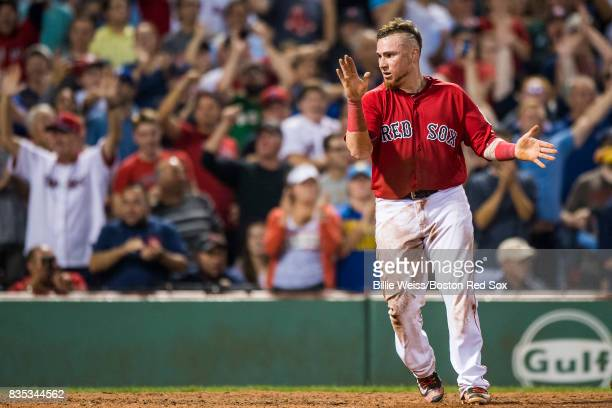 Christian Vazquez of the Boston Red Sox reacts after scoring during the eighth inning of a game against the New York Yankees on August 18 2017 at...