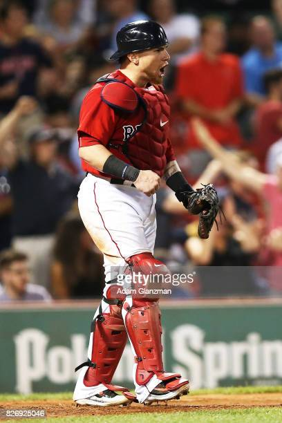 Christian Vazquez of the Boston Red Sox reacts during a game against the Chicago White Sox at Fenway Park on August 4 2017 in Boston Massachusetts