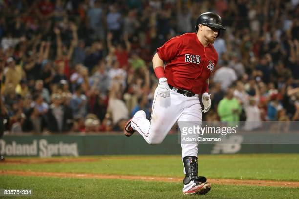 Christian Vazquez of the Boston Red Sox rounds the bases after hitting a solo home run in the fifth inning of a game against the New York Yankees at...
