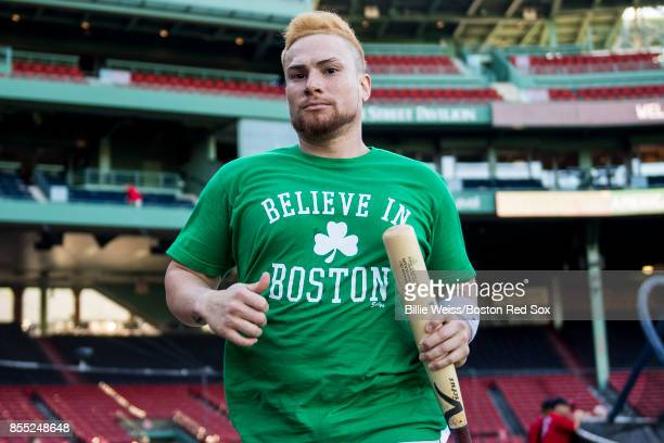 Christian Vazquez of the Boston Red Sox runs off the field before a game against the Houston Astros on September 28 2017 at Fenway Park in Boston...