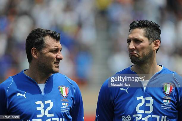 Christian Vieri and Marco Materazzi look on during the JLeague Legend and Glorie Azzurre match at the National Stadium on June 9 2013 in Tokyo Japan