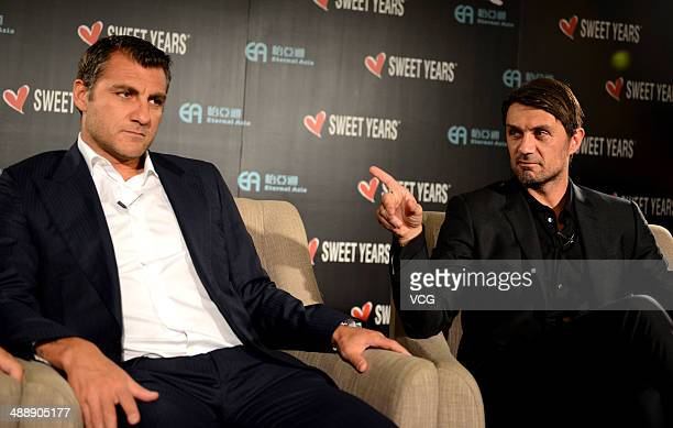 Christian Vieri and Paolo Maldini attend Sweet Years press conference on May 8 in Guangzhou Guangdong Province of China