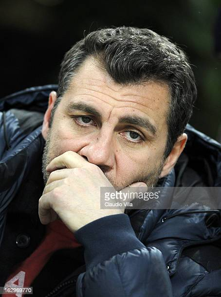 Christian Vieri attends the Serie A match between AC Milan and SS Lazio at San Siro Stadium on March 2 2013 in Milan Italy