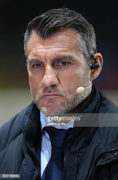 Christian Vieri comments for beIN Sports the UEFA Champions League match between AS Monaco FC and Tottenham Hotspur FC at Stade Louis II on November...