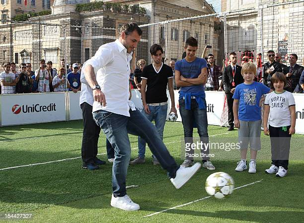 Christian Vieri kicks the ball during the UEFA Champions League Trophy Tour 2012/13 on October 19 2012 in Rome Italy