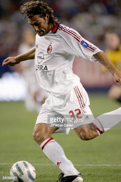 Christian Vieri of AC Milan looks to put the ball to the net during their international friendly match against the Chicago Fire on July 27 2005 at...