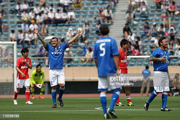 Christian Vieri of Glorie Azzurre celebrates scoring his team's first goal during the JLeague Legend and Glorie Azzurre at the National Stadium on...