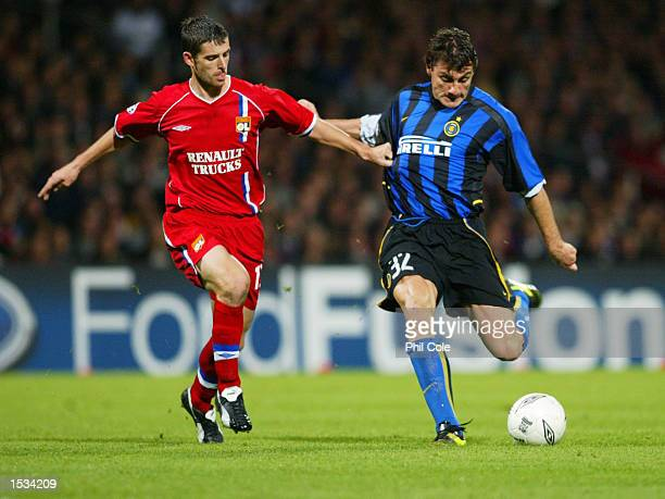 Christian Vieri of Inter is watched by Jeremie Brechet of Lyon during the UEFA Champions League First Phase Group D match between Lyon and Inter...