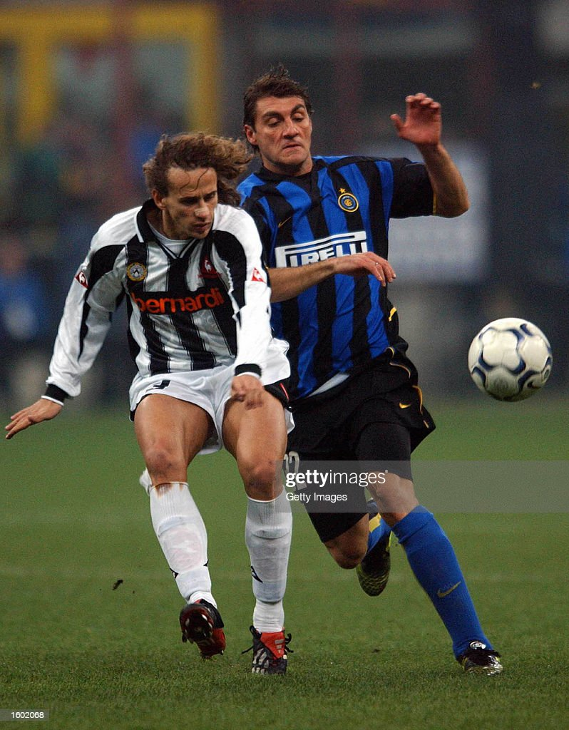 Christian Vieri of Inter Milan and Thomas Manfredini of Udinese in