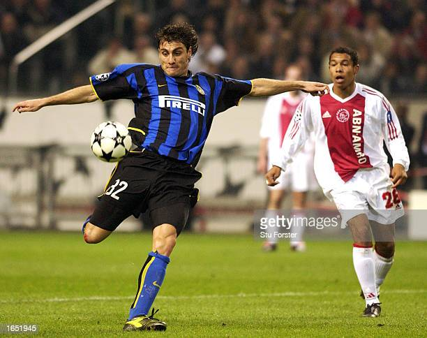 Christian Vieri of Inter Milan takes a shot at goal during the UEFA Champions League First Phase Group D match between Ajax and Inter Milan on...
