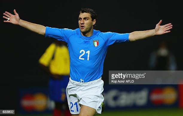 Christian Vieri of Italy celebrates a goal during the 1st half of the Italy v Ecuador Group G World Cup Group Stage match played at the Sapporo Dome...