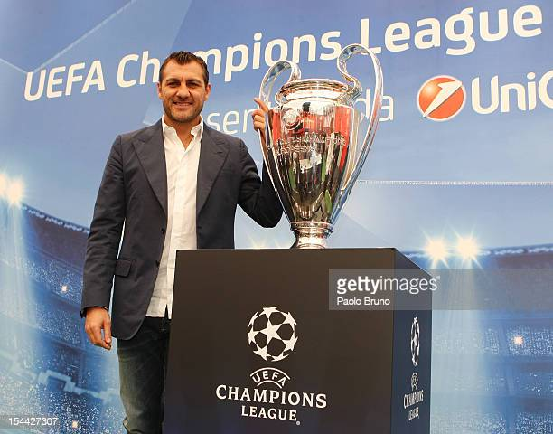 Christian Vieri poses with the UEFA Champions League Trophy during the UEFA Champions League Trophy Tour 2012/13 on October 19 2012 in Rome Italy