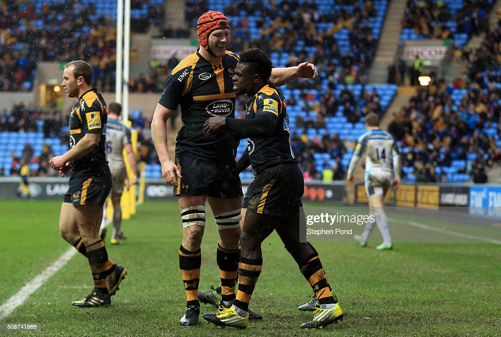 <a gi-track='captionPersonalityLinkClicked' href=/galleries/search?phrase=Christian+Wade&family=editorial&specificpeople=4948108 ng-click='$event.stopPropagation()'>Christian Wade</a> of Wasps celebrates a later disallowed try during the Aviva Premiership match between Wasps and Newcastle Falcons at the Ricoh Arena on February 6, 2016 in Coventry, England.