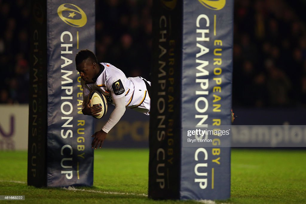 <a gi-track='captionPersonalityLinkClicked' href=/galleries/search?phrase=Christian+Wade&family=editorial&specificpeople=4948108 ng-click='$event.stopPropagation()'>Christian Wade</a> of Wasps scores the opening try during the European Rugby Champions Cup match between Harlequins and Wasps at Twickenham Stoop on January 17, 2015 in London, England.