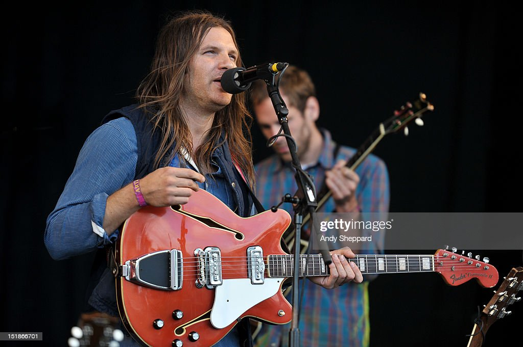 Christian Wargo of the band Poor Moon performs on stage during End Of The Road Festival 2012 at Larmer Tree Gardens on August 31, 2012 in Salisbury, United Kingdom.