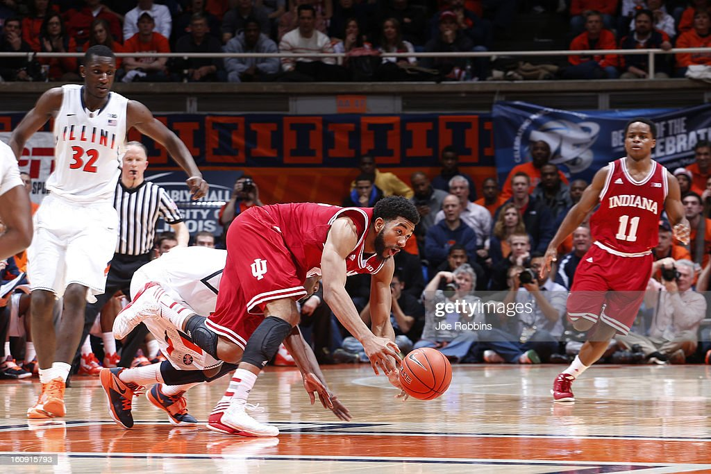 Christian Watford #2 of the Indiana Hoosiers loses the ball against the Illinois Fighting Illini during the game at Assembly Hall on February 7, 2013 in Champaign, Illinois. Illinois defeated No. 1 ranked Indiana 74-72.