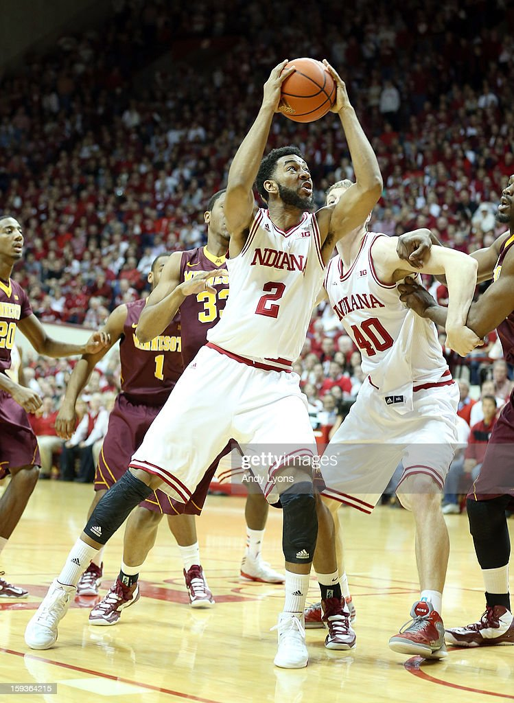 Christian Watford #2 of the Indiana Hoosiers shoots the ball during the Big 10 game against the Minnesota Golden Gophers at Assembly Hall on January 12, 2013 in Bloomington, Indiana.