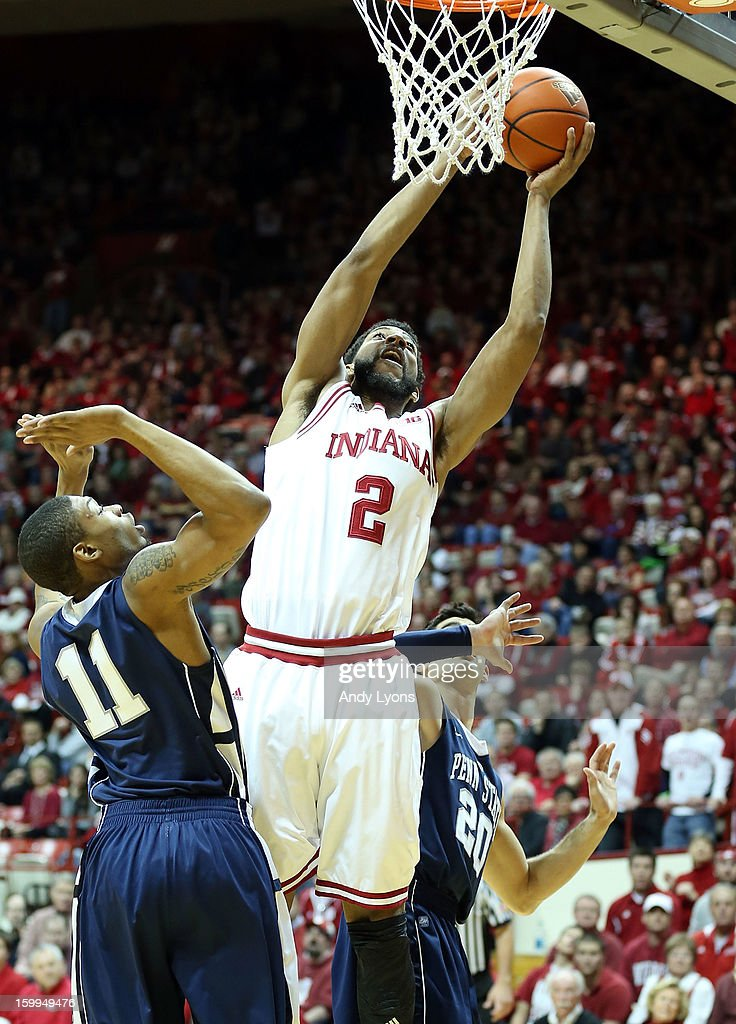 Christian Watford #2 of the Indiana Hoosiers shoots the ball during the game against the Penn State Nittany Lions at Assembly Hall on January 23, 2013 in Bloomington, Indiana.