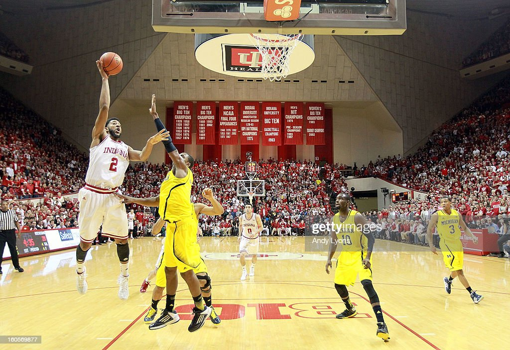 Christian Watford #2 of the Indiana Hoosiers shoots the ball during the game against the Michigan Wolverines at Assembly Hall on February 2, 2013 in Bloomington, Indiana.