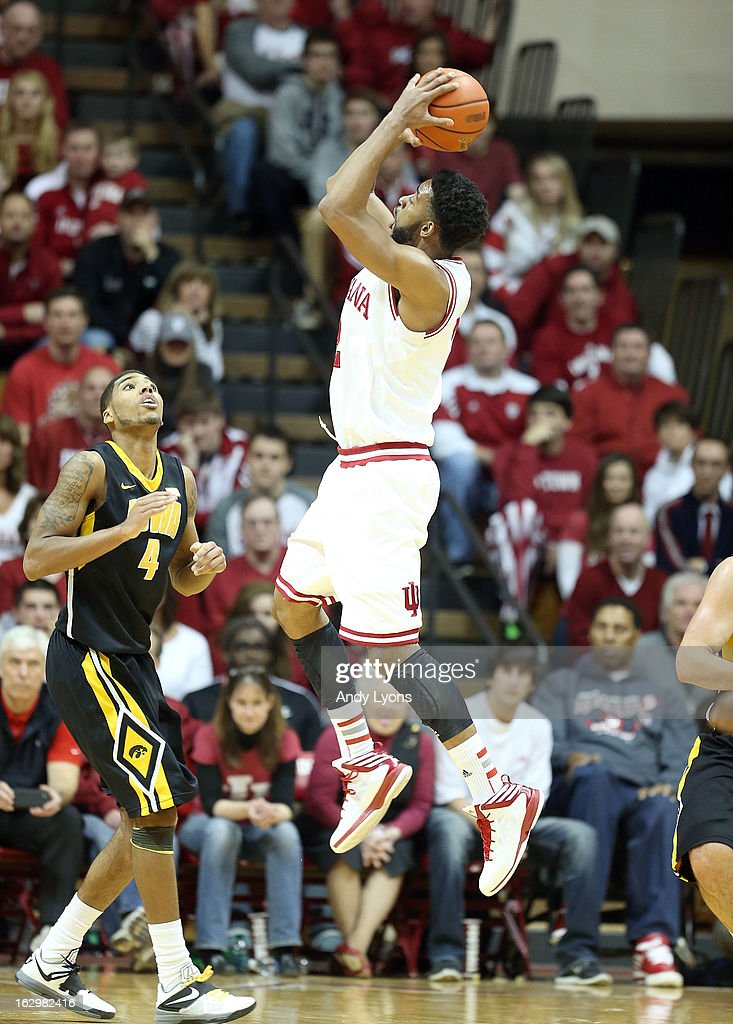 Christian Watford #2 of the Indiana Hoosiers shoots the ball during the game against the Iowa Hawkeyes at Assembly Hall on March 2, 2013 in Bloomington, Indiana.