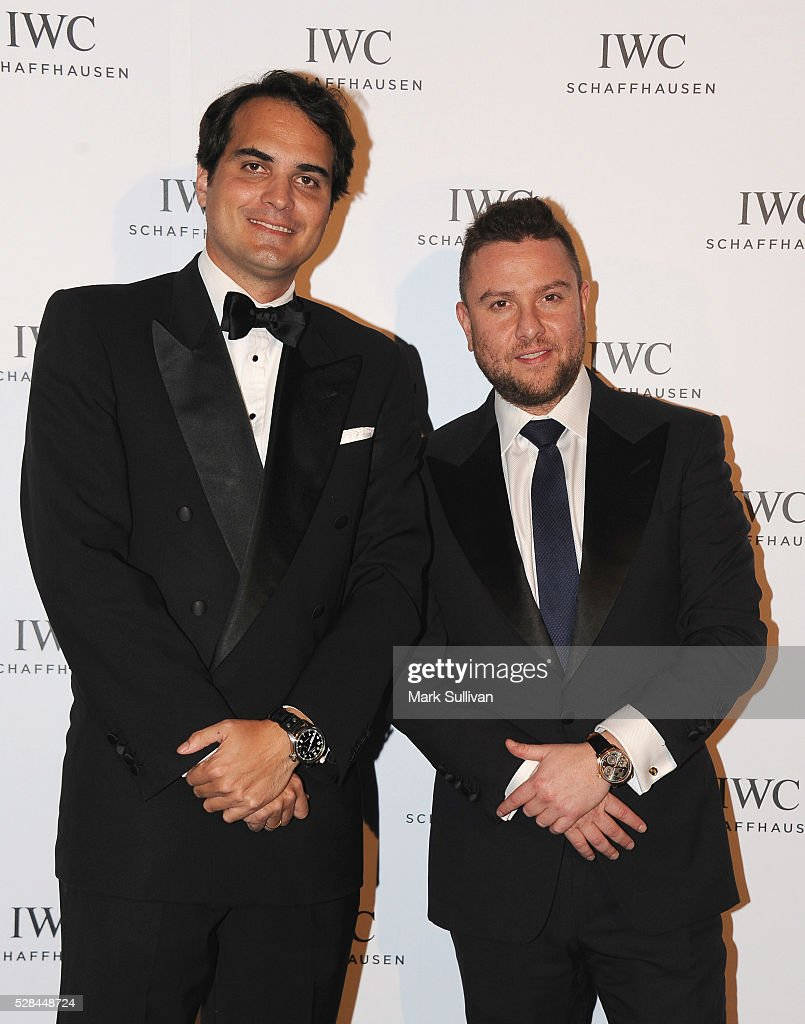Christian Westermeyer (L) and James Kennedy attend the lauch of IWC Schaffhausen's pilots watch launch at Sydney Theatre Company on May 5, 2016 in Sydney, Australia.