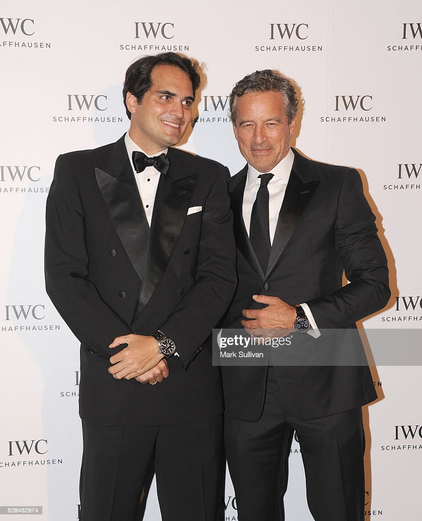 Christian Westermeyer (L) and Mark Bouris attend the launch of IWC Schaffhausen's pilots watch launch at Sydney Theatre Company on May 5, 2016 in Sydney, Australia.